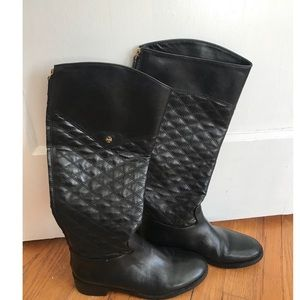 Tory Burch small gold logo quilted boots